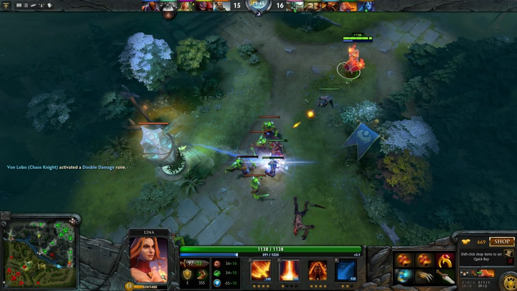 A skirmish in the MOBA DOTA 2