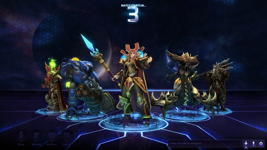 A team zones into a match in the MOBA Heroes of the Storm