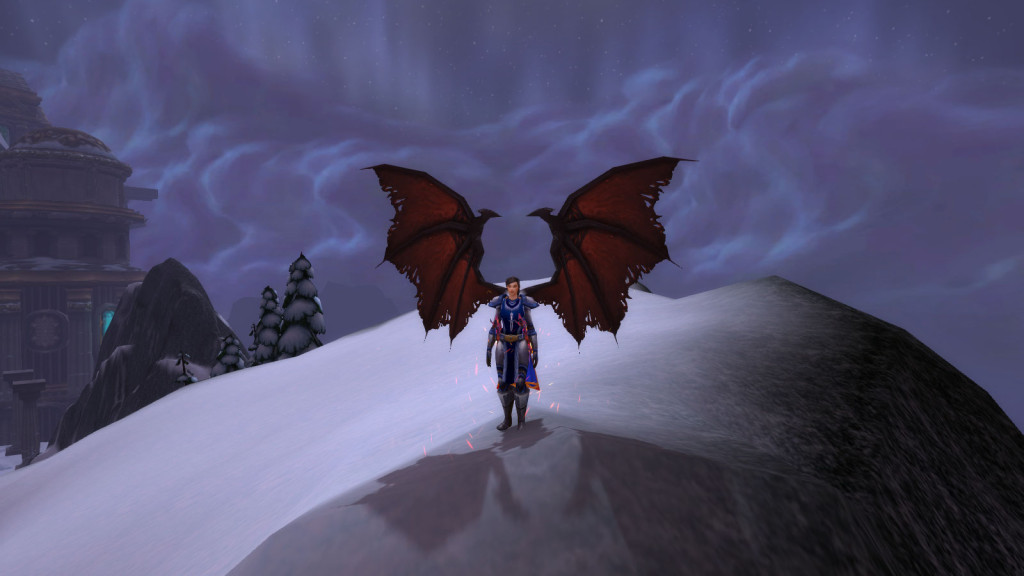 A winged character demonstrates the high fantasy elements of World of Warcraft