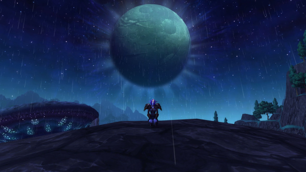 A Night Elf monk basks in the moonlight of Shadowmoon Valley in World of Warcraft