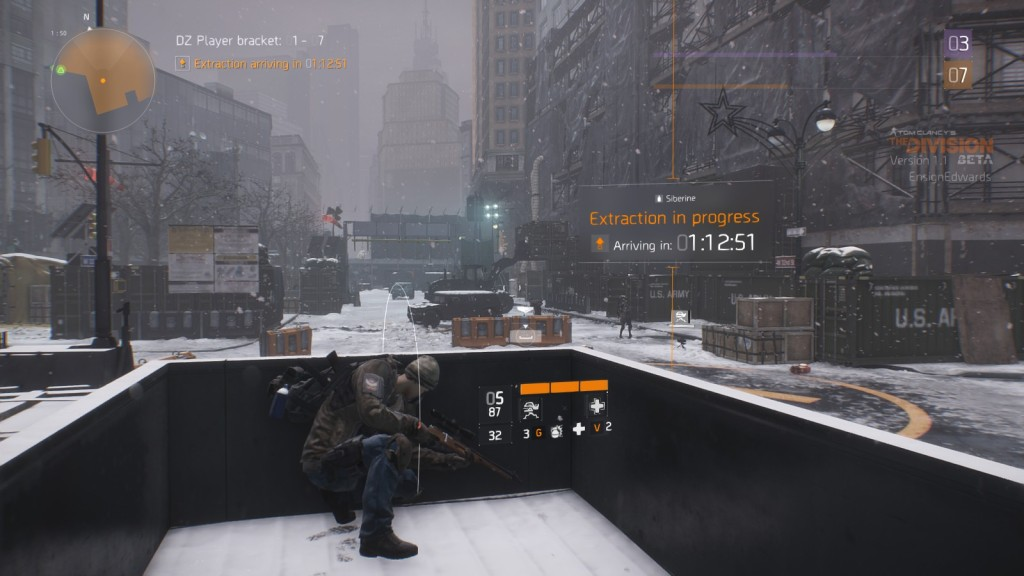 Calling down an extraction in the Dark Zone in MMO shooter The Division