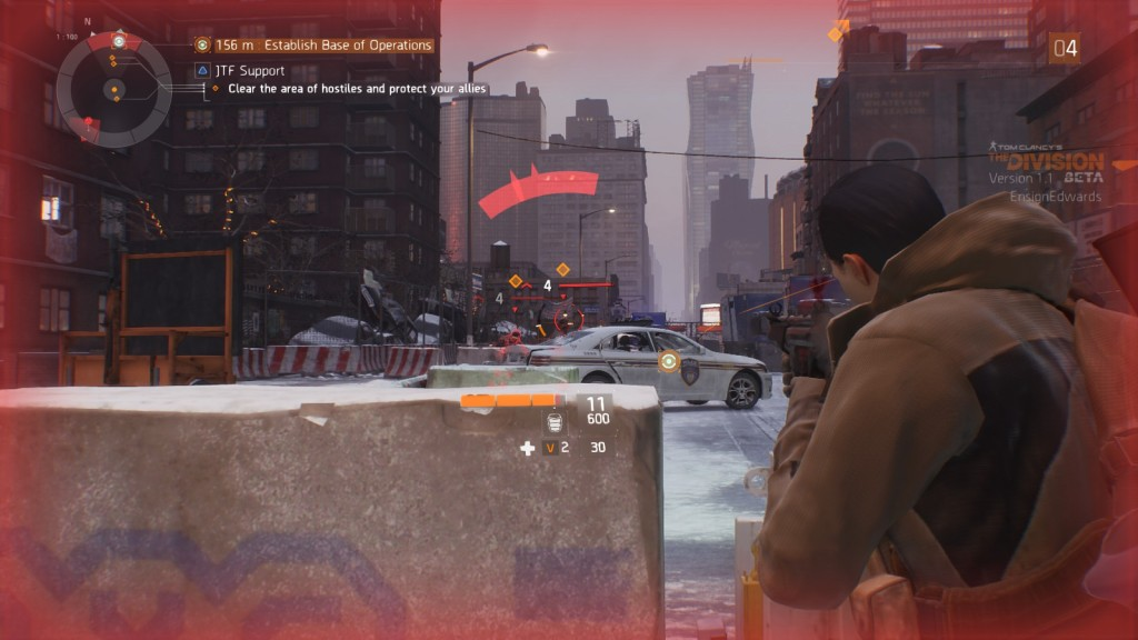 Combat in the open beta of MMO shooter The Division