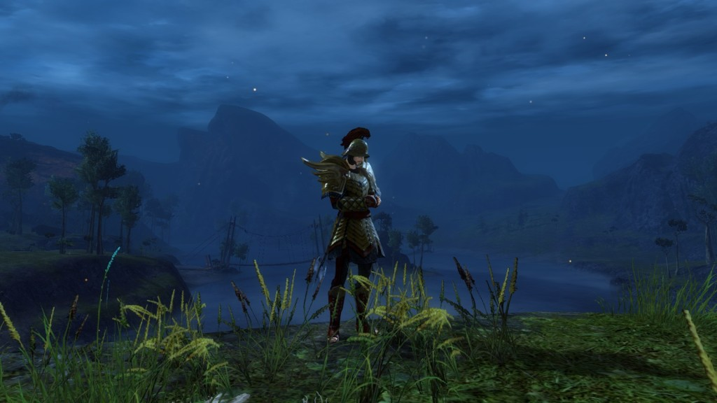 A uman warrior stands over one of the many gorgeous vistas of Guild Wars 2