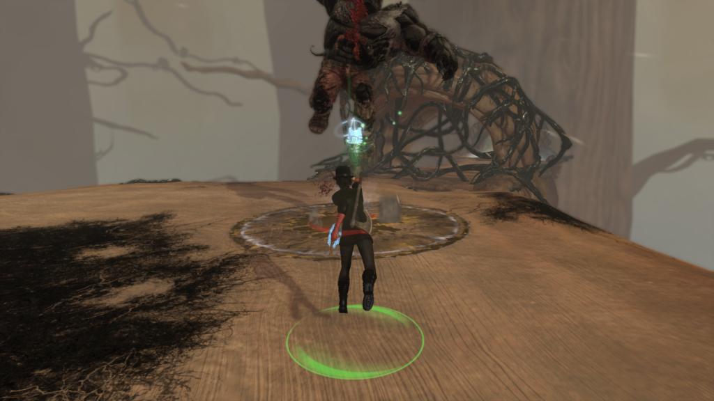 Battling a mini-boss in the horror MMORPG The Secret World