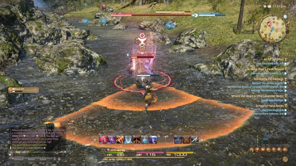 Battling a quest mob in the fantasy MMORPG Final Fantasy XIV: A Realm Reborn