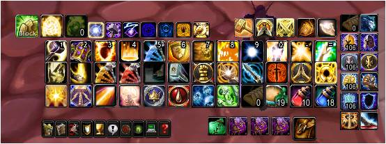An overloaded action bar in World of Warcraft