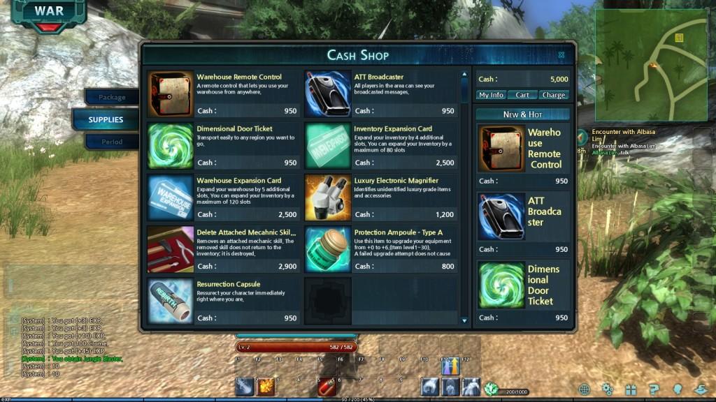 The cash shop window in the MMORPG Trinium Wars