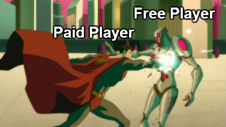 free vs paid player example of pay to win mmorpg