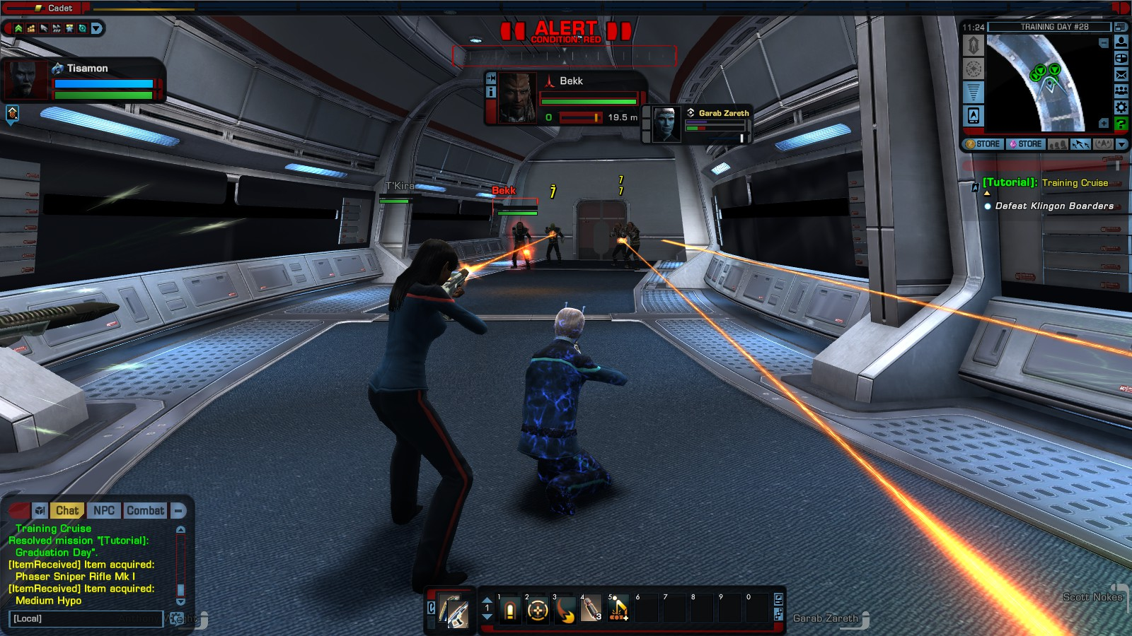 A boarding party during a mission in Star Trek: Online