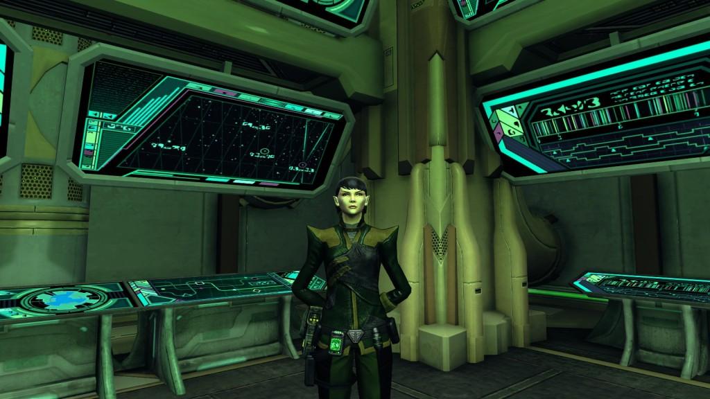 A Romulan character in Star Trek: Online