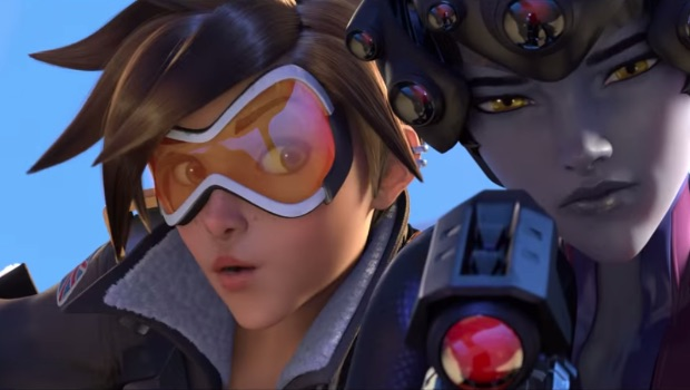 A shot from Overwatch's announcement cinematic, featuring Tracer and Widowmaker