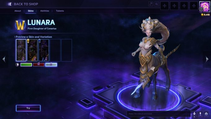 Previewing skins for the Lunara character in Heroes of the Storm