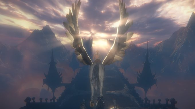 Flying on a Pegasus during the tutorial for the free to play MMORPG Riders of Icarus