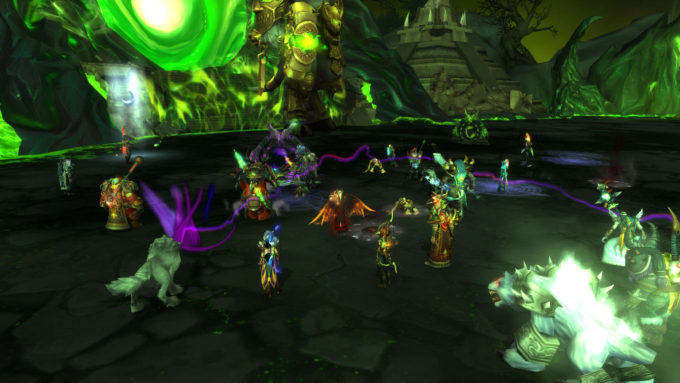 A skilled raid carries lesser players to free moose mounts in World of Warcraft