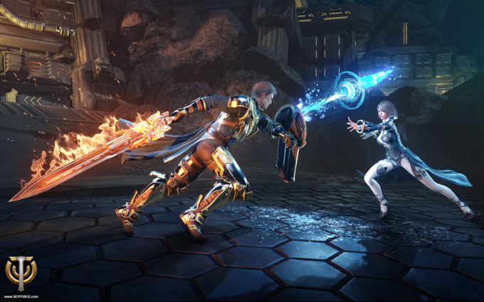 A promotional pic showing PvP in the MMORPG Skyforge. Not pictured: teabagging of corpses after the battle