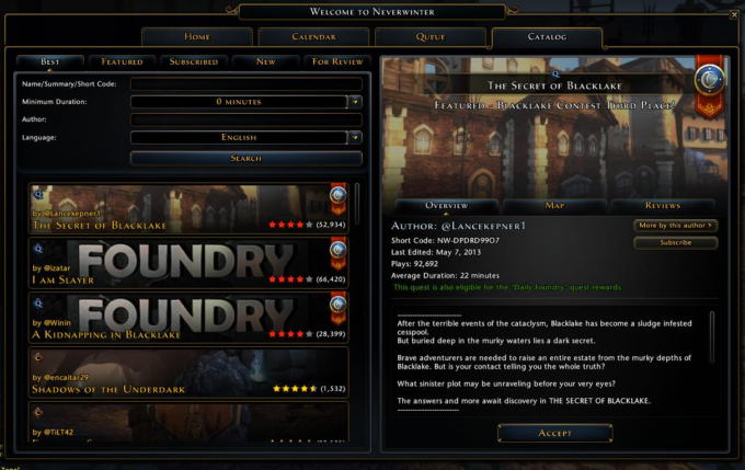 neverwinter player made quests