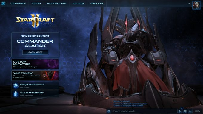 The home screen for Alarak's release in StarCraft 2