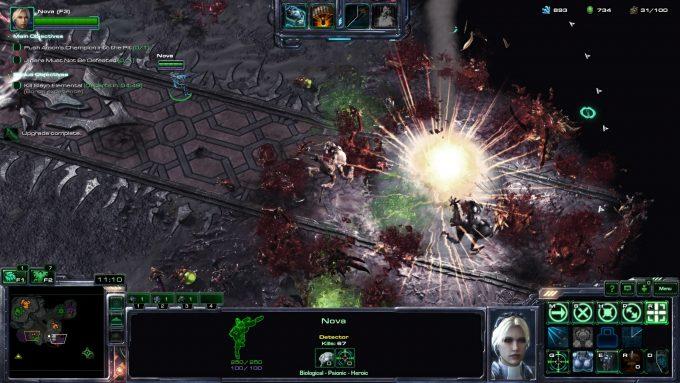 Nova launches a nuclear strike in StarCraft II's co-op