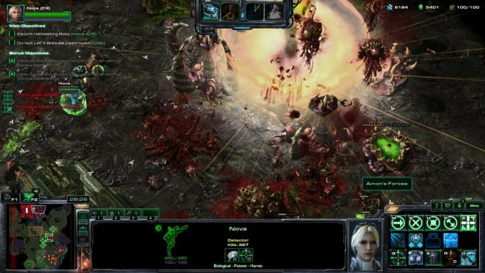 Nova calls down a nuclear strike in StarCraft II's co-op