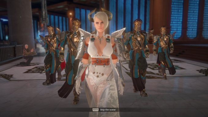 A group of NPCs in a cutscene in Skyforge's Ascension patch