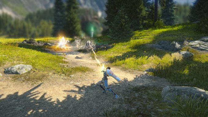 A paladin fighting low level mobs in Skyforge's Ascension patch