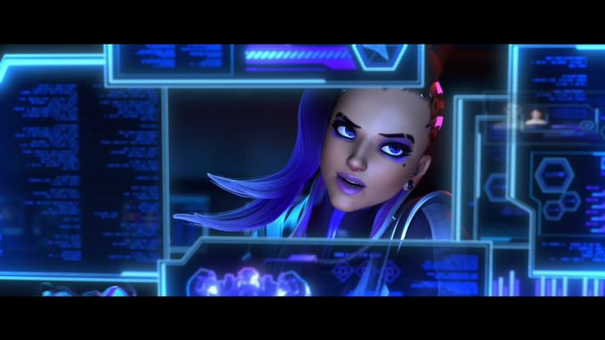 A shot from the animated short for Overwatch's new Sombra character