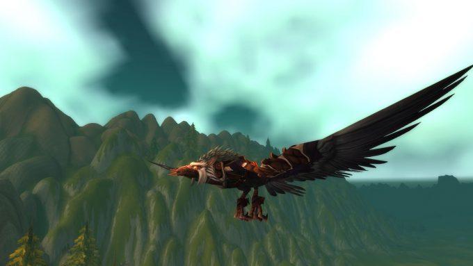 A druid in flight form in World of Warcraft: Legion