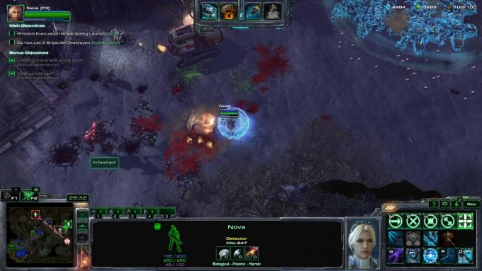 Nova blasting zombies on the co-op map Miner Evacuation in StarCraft II