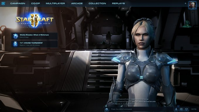 A promotional splash screen for co-op commander Nova in StarCraft II