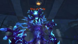 A first person shot of tanking the Sha of Pride in World of Warcraft