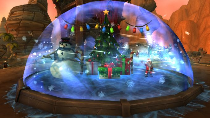 A snowglobe in World of Warcraft's Winter Veil holiday event.