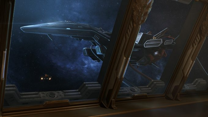 Nova's ship, the Griffin, in StarCraft II's Nova Covert Ops DLC