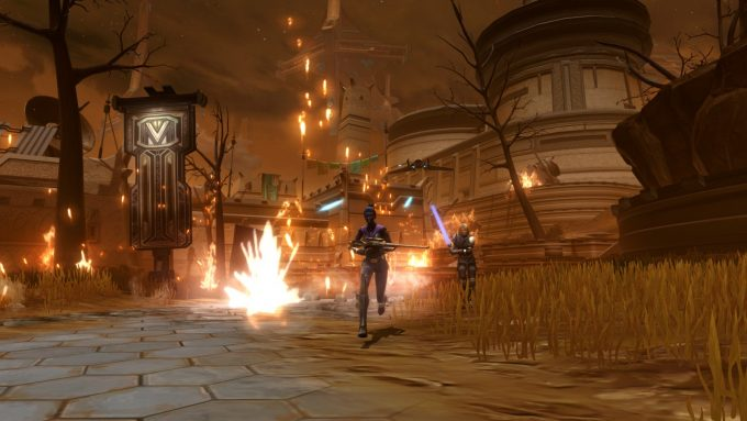 An Imperial agent character and Lana Beniko in Star Wars: The Old Republic's Knights of the Eternal Throne expansion