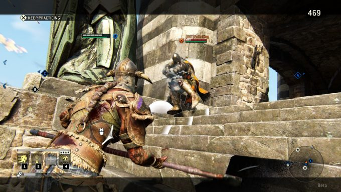 A duel in the For Honor beta.