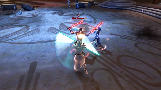 Fighting as a Jedi consular in the themepark MMORPG Star Wars: The Old Republic