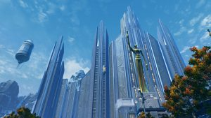 SWTOR screenshot of House Organa on Alderaan. The palace consists of grey and light blue stones going high up in the air. In front stands a golden statue.