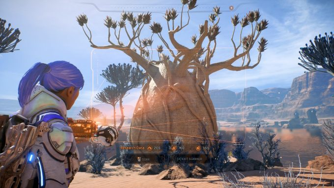Scanning some plants on planet Eos in Mass Effect: Andromeda
