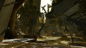 SWTOR screenshot showing the base camp on Taris: ruins of tall buildings partially overgrown with plants are being renovated with cranes