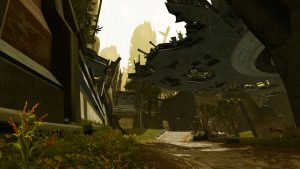 SWTOR screenshot of a road on Taris. Looming over it are the parts of a building.