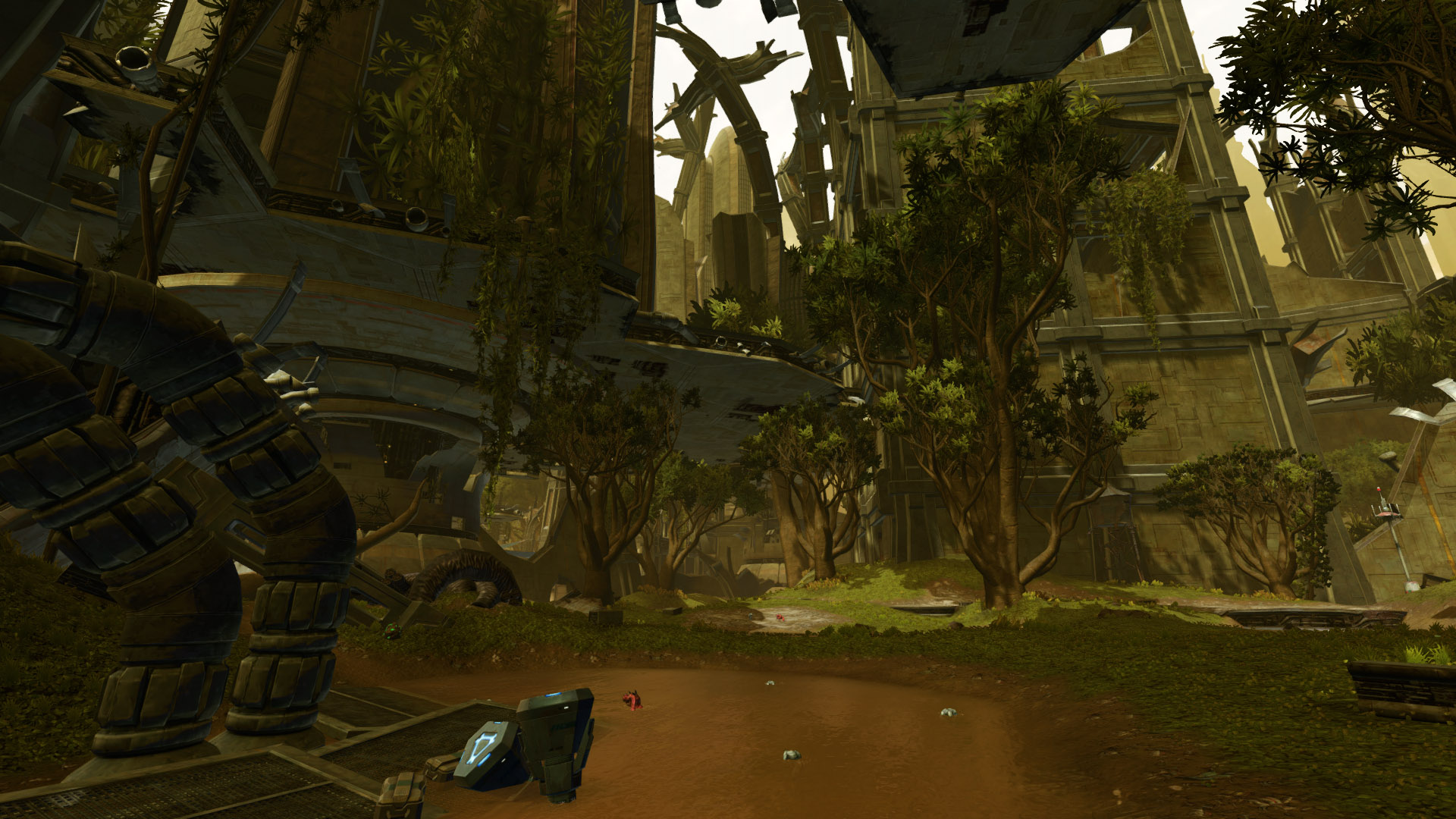 SWTOR screenshot of the landscape of Taris, showing ruins of large buildings overgrown with trees and wild rakghouls