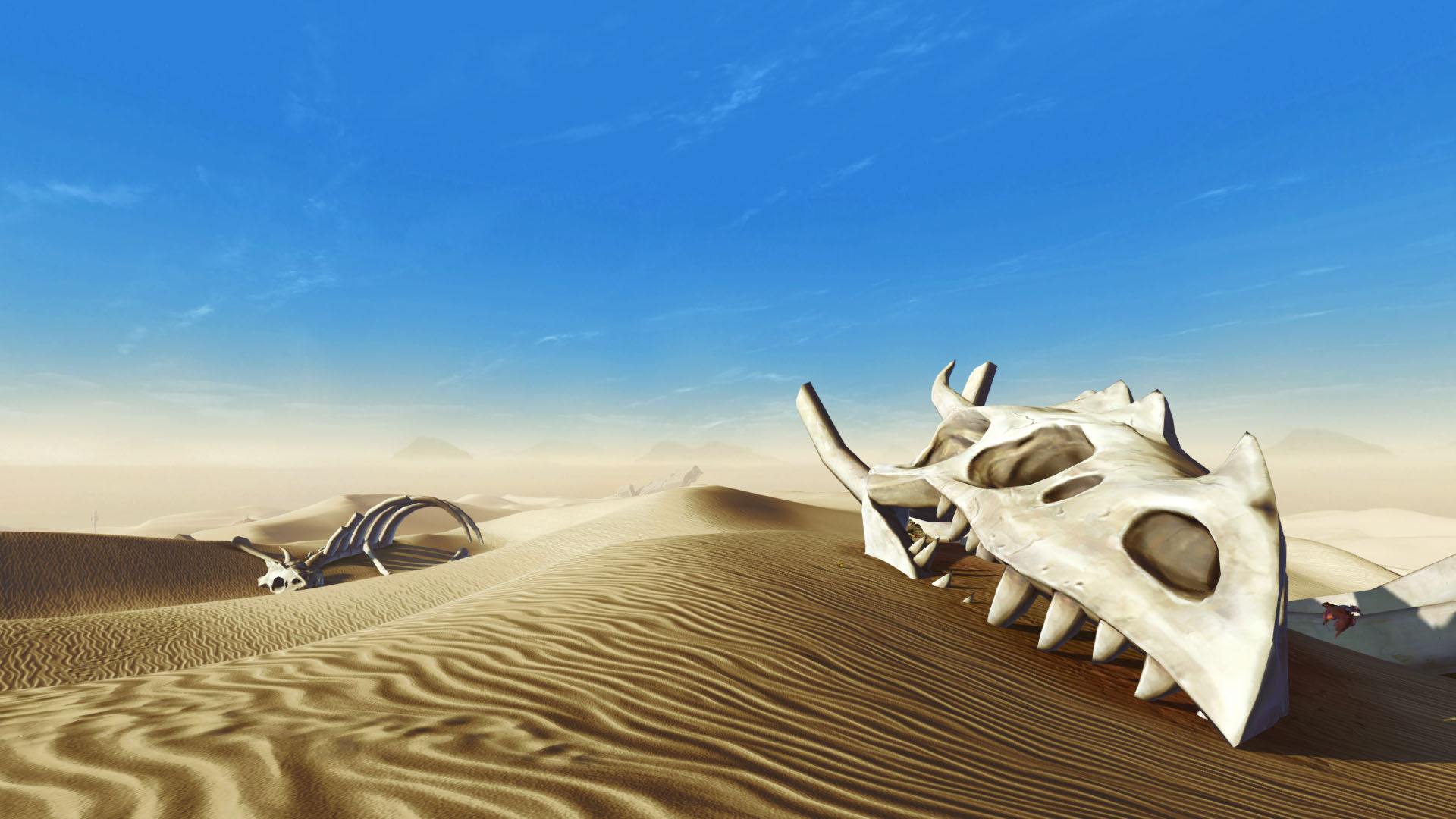 SWTOR screenshot of two krayt dragon skeletons laying in the desert of Tatooine under a clear blue sky