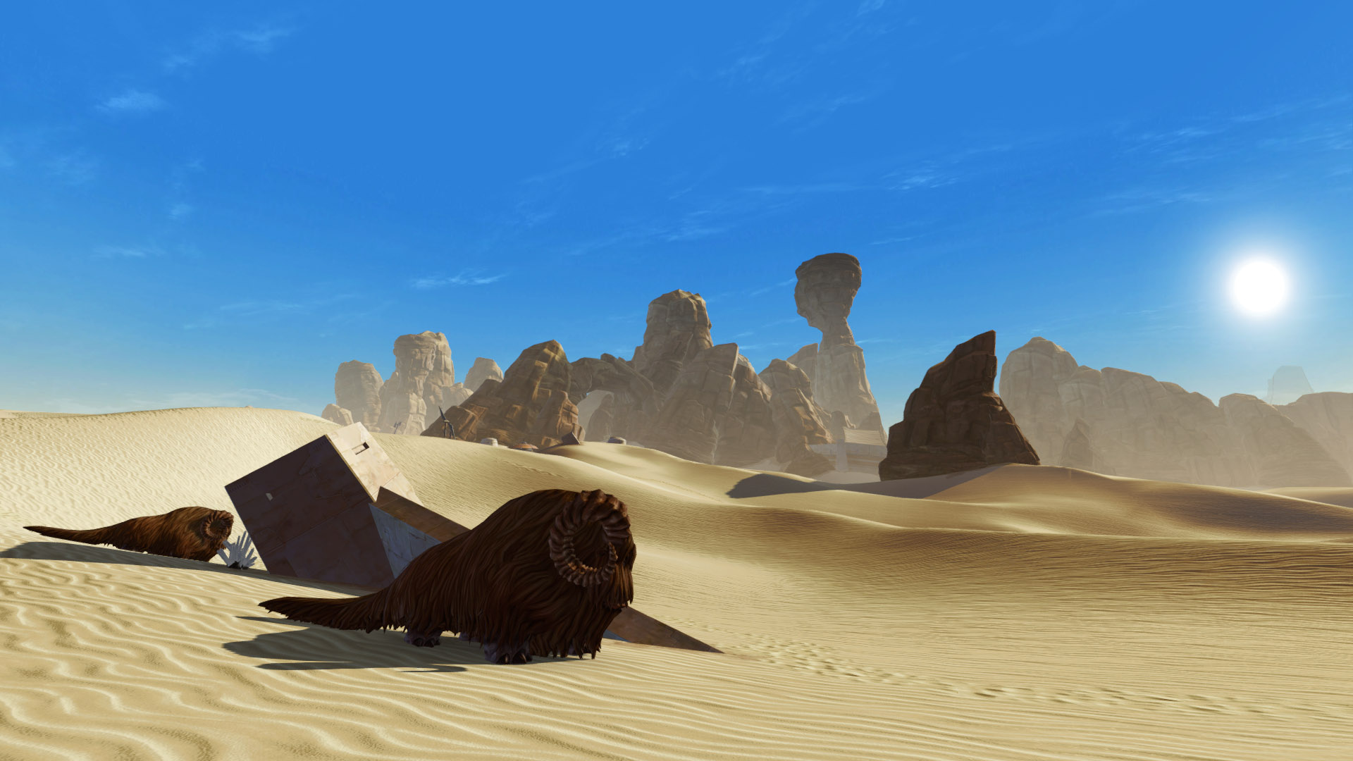 SWTOR screenshot with the landscape of Tatooine: a desert with rocks in the distance and one of the suns in the clear blue sky. Two banthas roam in the foreground.