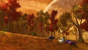 SWTOR screenshot of three purple mewvorr fighting a jedi dressed in white with a blue lightsaber on Voss. Orange grass and trees with autumn foliage.