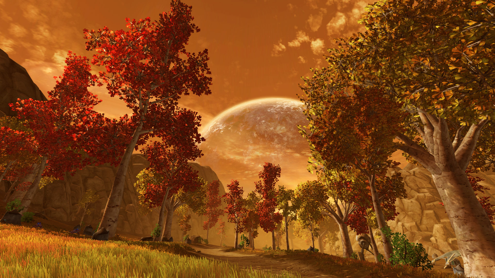 SWTOR screenshot with the landscape of Voss, showing yellow grass, trees with red or yellow foliage, a rocky environment and a huge sun in an orange sky