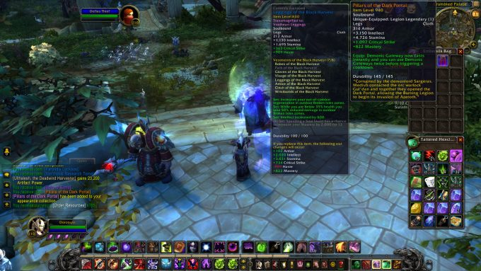 A piece of legendary gear in World of Warcraft