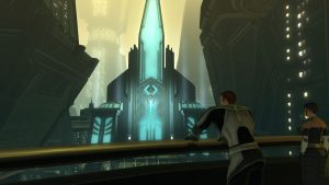 SWTOR screenshot of two citizens of Zakuul looking out over their city. A futuristic building with lass turquoise glass panels lies afar.