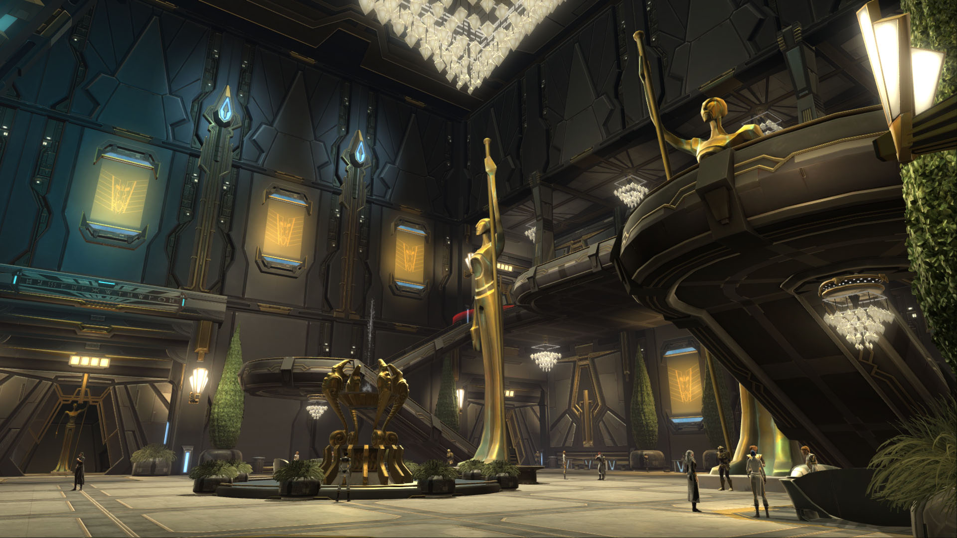 SWTOR screenshot of the interior of the Palace of the Eternal Dragon, showing a tall hall with two golden high statues, a fountain and a chandellier of many diamonds