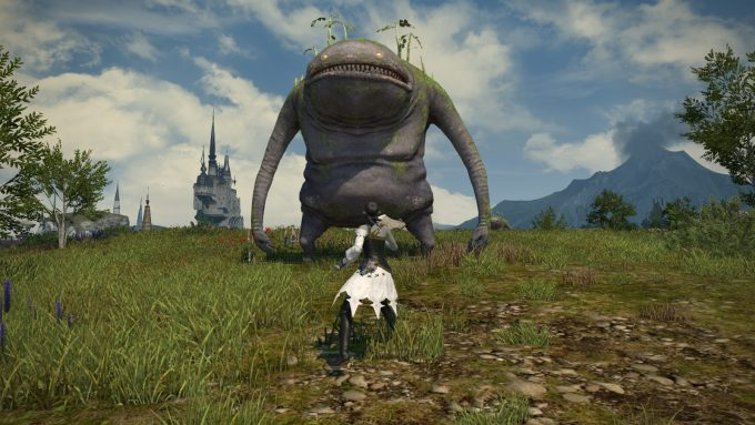 Confronting a large mob in Final Fantasy XIV: A Realm Reborn