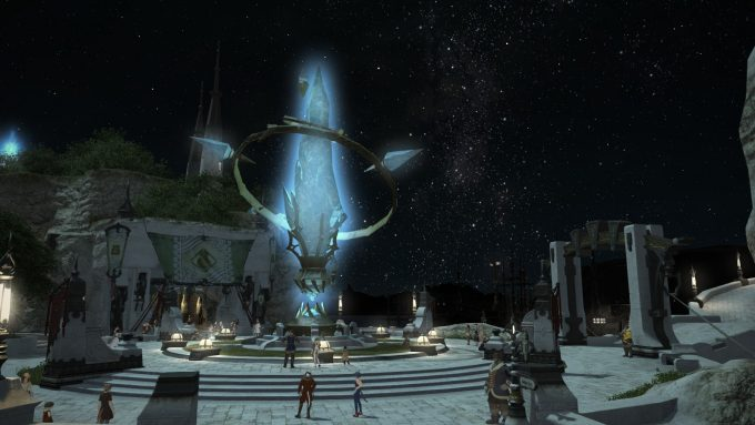 A town by night in Final Fantasy XIV: A Realm Reborn
