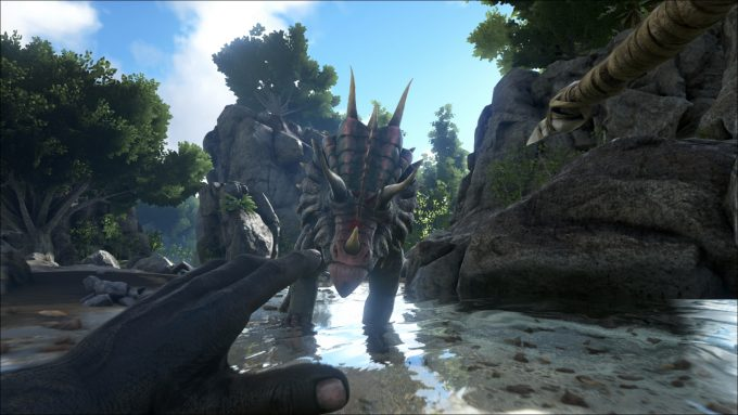 A screenshot from the multiplayer survival sandbox Ark: Survival Evolved